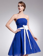 A-Line/Princess Strapless Knee-Length Chiffon Homecoming Dress With Ruffle Sash Flower(s) (022014521)