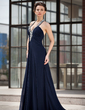 A-Line/Princess Halter Sweep Train Chiffon Evening Dress With Ruffle Beading (017022927)