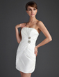 Sheath/Column Strapless Short/Mini Taffeta Cocktail Dress With Ruffle Beading (008015657)