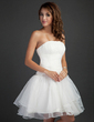 A-Line/Princess Strapless Short/Mini Organza Cocktail Dress With Ruffle (016015368)
