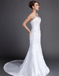Trumpet/Mermaid V-neck Court Train Satin Wedding Dress With Beading Appliques Lace (002015813)