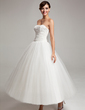 Ball-Gown Sweetheart Ankle-Length Chiffon Tulle Wedding Dress With Ruffle Lace (002017565)