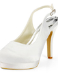 Women's Satin Cone Heel Platform Pumps Slingbacks With Buckle (047011884)