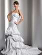 Trumpet/Mermaid Sweetheart Chapel Train Satin Wedding Dress With Embroidered Ruffle Beading (002014518)