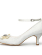 Women's Satin Spool Heel Closed Toe Pumps With Buckle Rhinestone Satin Flower Stitching Lace (047005736)