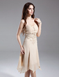 A-Line/Princess Strapless Knee-Length Chiffon Homecoming Dress With Ruffle Beading Appliques Lace (022015644)