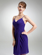 Sheath/Column V-neck Knee-Length Chiffon Cocktail Dress With Ruffle Beading (016021157)