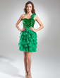 A-Line/Princess One-Shoulder Short/Mini Organza Sequined Cocktail Dress With Flower(s) Cascading Ruffles (016015587)