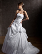 Ball-Gown Strapless Chapel Train Taffeta Wedding Dress With Ruffle Lace Beading Sequins (002011405)