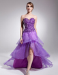 A-Line/Princess Sweetheart Asymmetrical Organza Prom Dress With Beading (018014511)