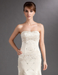Trumpet/Mermaid Sweetheart Court Train Charmeuse Mother of the Bride Dress With Lace Beading (008016865)