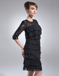 Sheath/Column Scoop Neck Knee-Length Chiffon Lace Mother of the Bride Dress With Cascading Ruffles (008005930)
