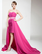 A-Line/Princess Sweetheart Asymmetrical Chiffon Prom Dress With Ruffle Beading (018021023)