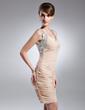Kılıf Kalp Kesimli Kısa/Mini Chiffon Gelin Annesi Elbisesi Ile Büzgü Boncuklama Pullarda (008015654)