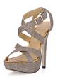 Women's Leatherette Stiletto Heel Sandals Platform Slingbacks With Buckle shoes (087017930)
