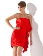 Sheath/Column Strapless Short/Mini Charmeuse Cocktail Dress With Cascading Ruffles (016020788)