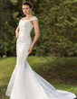 Trumpet/Mermaid Sweetheart Court Train Satin Wedding Dress With Lace Sequins (002012088)