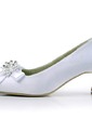 Women's Satin Chunky Heel Closed Toe Pumps With Beading Bowknot Imitation Pearl (047011852)