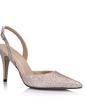 Kvinnor Konstläder Glittrande Glitter Cone Heel Pumps Stängt Toe Slingbacks skor (085026440)