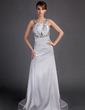 Empire Scoop Neck Watteau Train Charmeuse Mother of the Bride Dress With Ruffle Beading (008015895)