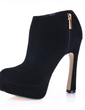 Suede Chunky Heel Closed Toe Platform Ankle Boots (088017130)