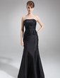 Trumpet/Mermaid Strapless Floor-Length Taffeta Bridesmaid Dress With Ruffle Beading (007001573)