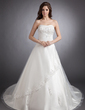 Ball-Gown Sweetheart Chapel Train Satin Wedding Dress With Lace Beading (002011511)