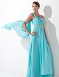 Çan/Prenses Tek-Omuzlu Uzun Etekli Chiffon Mezuniyet Elbisesi Ile Büzgü Boncuklama (018013099)