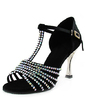 Women's Satin Heels Sandals Latin Ballroom With Rhinestone T-Strap Dance Shoes (053013456)