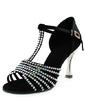 Kadın Satin Topuk Sandalet Latin Balo Ile Yapay elmas T-Askı Dans Ayakkabıları (053013456)