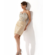 Sheath/Column Sweetheart Knee-Length Taffeta Cocktail Dress With Ruffle Beading Sequins (016008490)