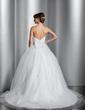 Balklänning Hjärtformad Chapel släp Tyll Bröllopsklänning med Rufsar Pärlbrodering Paljetter (002014800)