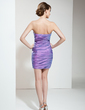 Sheath/Column Strapless Short/Mini Taffeta Cocktail Dress With Ruffle Beading Sequins (016020795)