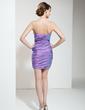 Sheath/Column Strapless Short/Mini Taffeta Cocktail Dress With Ruffle Beading Sequins (016020795)