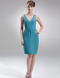 Sheath/Column V-neck Knee-Length Chiffon Mother of the Bride Dress (008005626)