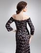 Trumpet/Mermaid Off-the-Shoulder Floor-Length Charmeuse Lace Mother of the Bride Dress With Ruffle Beading (008006230)
