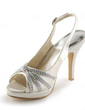 Women's Satin Cone Heel Peep Toe Platform Sandals Slingbacks With Buckle Rhinestone (047005496)