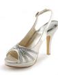 Women's Satin Cone Heel Peep Toe Platform Sandals Slingbacks With Buckle Rhinestone (047005496)