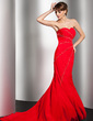 Trumpet/Mermaid Sweetheart Sweep Train Chiffon Evening Dress With Beading (017014550)