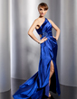 A-Line/Princess One-Shoulder Sweep Train Charmeuse Evening Dress With Ruffle Beading Split Front (017014766)