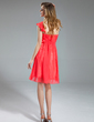 Empire One-Shoulder Knee-Length Chiffon Bridesmaid Dress With Cascading Ruffles (007019662)