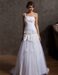 A-Line/Princess One-Shoulder Court Train Tulle Wedding Dress With Ruffle Beading Appliques Lace (002014951)