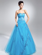 Ball-Gown Sweetheart Floor-Length Tulle Quinceanera Dress With Beading Appliques Lace Sequins (021015113)