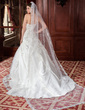One-tier Cathedral Bridal Veils With Lace Applique Edge (006024484)