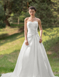 A-Line/Princess Sweetheart Chapel Train Taffeta Wedding Dress With Ruffle Beading Appliques Lace Sequins (002012570)