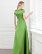 A-Linie/Princess-Linie Rechteckiger Ausschnitt Bodenlang Satin Brautjungfernkleid mit Schleife(n) (007001490)