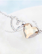 Sweet Heart Alloy/Platinum Plated With Crystal Ladies' Necklaces (011054895)