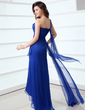 A-Line/Princess One-Shoulder Asymmetrical Chiffon Holiday Dress With Ruffle (020017308)