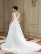 A-Line/Princess V-neck Chapel Train Chiffon Wedding Dress With Ruffle Beading (002012910)