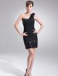 Wąska Jednoramienna Krótka/Mini Chiffon Sequined Suknia Koktajlowa (016008379)
